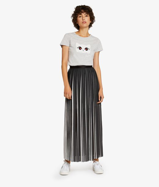 KARL LAGERFELD Pleated Graphic Maxi Skirt 12_f
