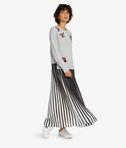 Pleated Graphic Maxi Skirt