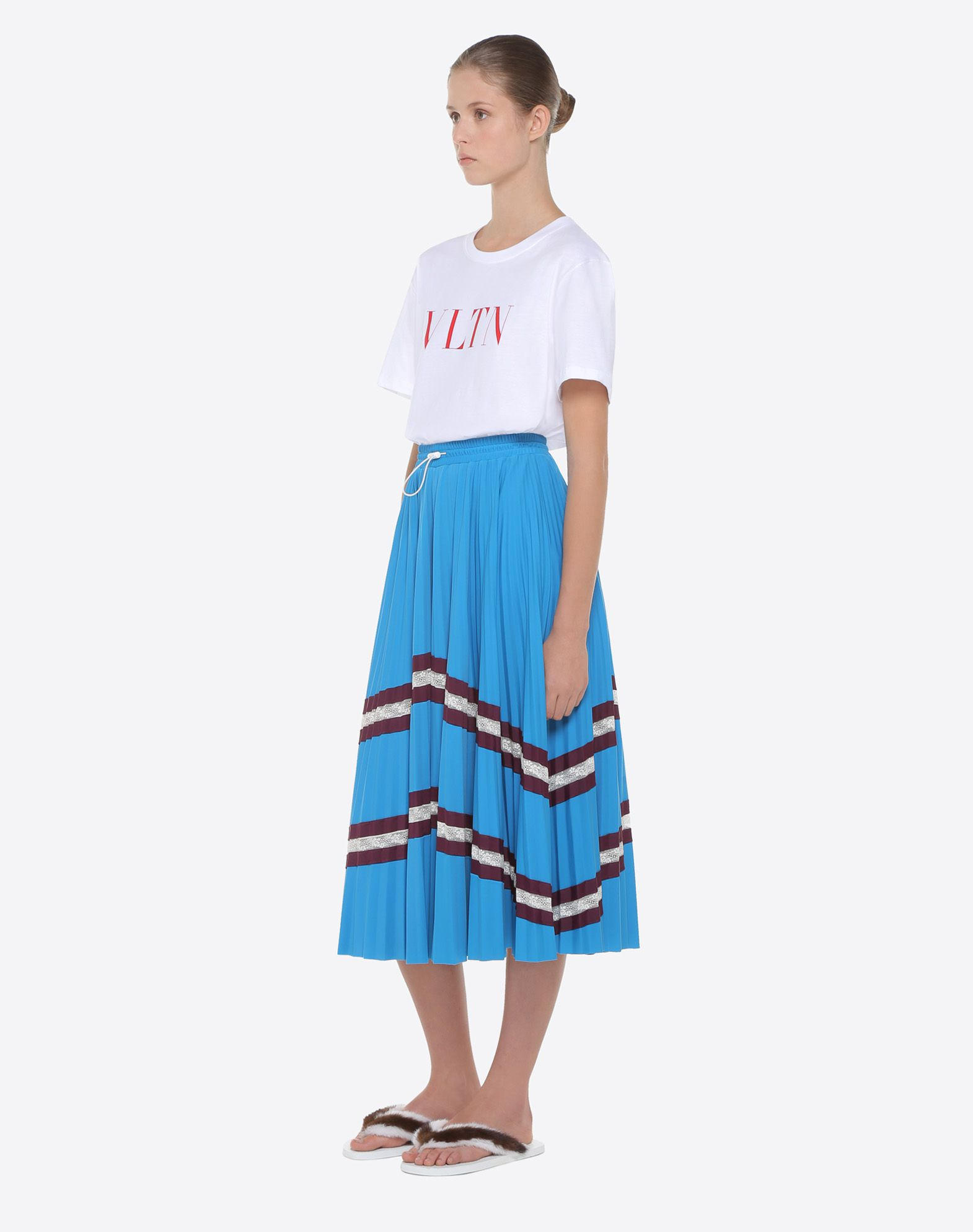 VALENTINO Pleated skirt with lace Skirt D d