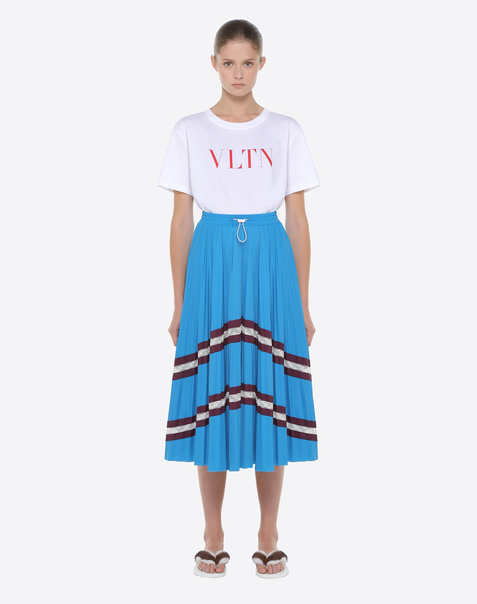 VALENTINO Pleated skirt with lace Skirt D r