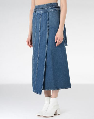 MM6 MAISON MARGIELA Denim skirt Woman Midi length denim skirt f