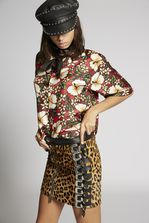 DSQUARED2 Leopard Leather Buckle Skirt Skirt Woman