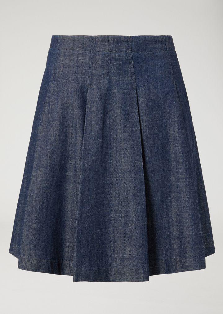 ... EMPORIO ARMANI Pleated denim skirt Skirt Woman r ...