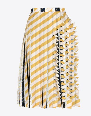 MAISON MARGIELA 3/4 length skirt Woman Cut-out pleated stripe skirt f