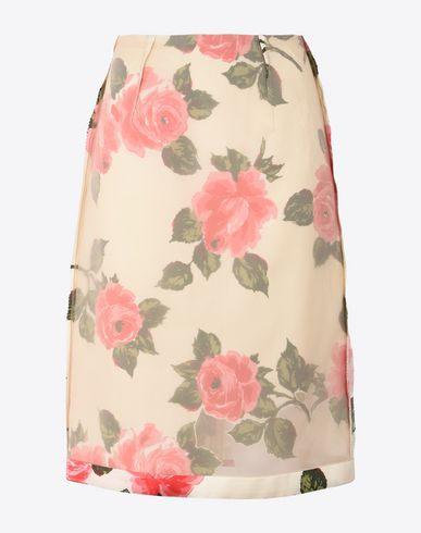MAISON MARGIELA 3/4 length skirt Woman Silk rose cut-out skirt f