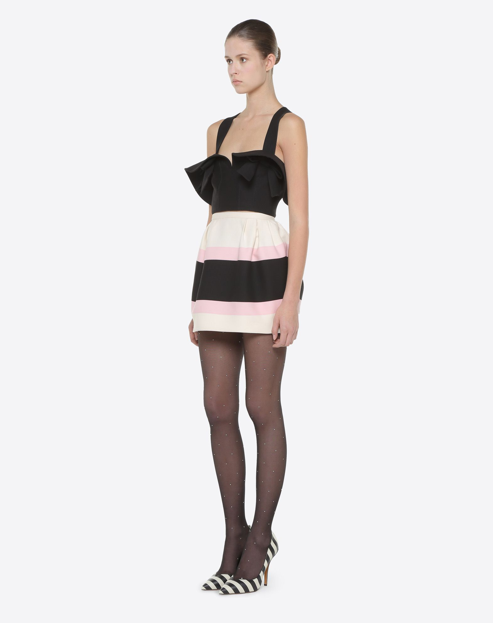 VALENTINO Macro Bayadère Mini Skirt Falda D d