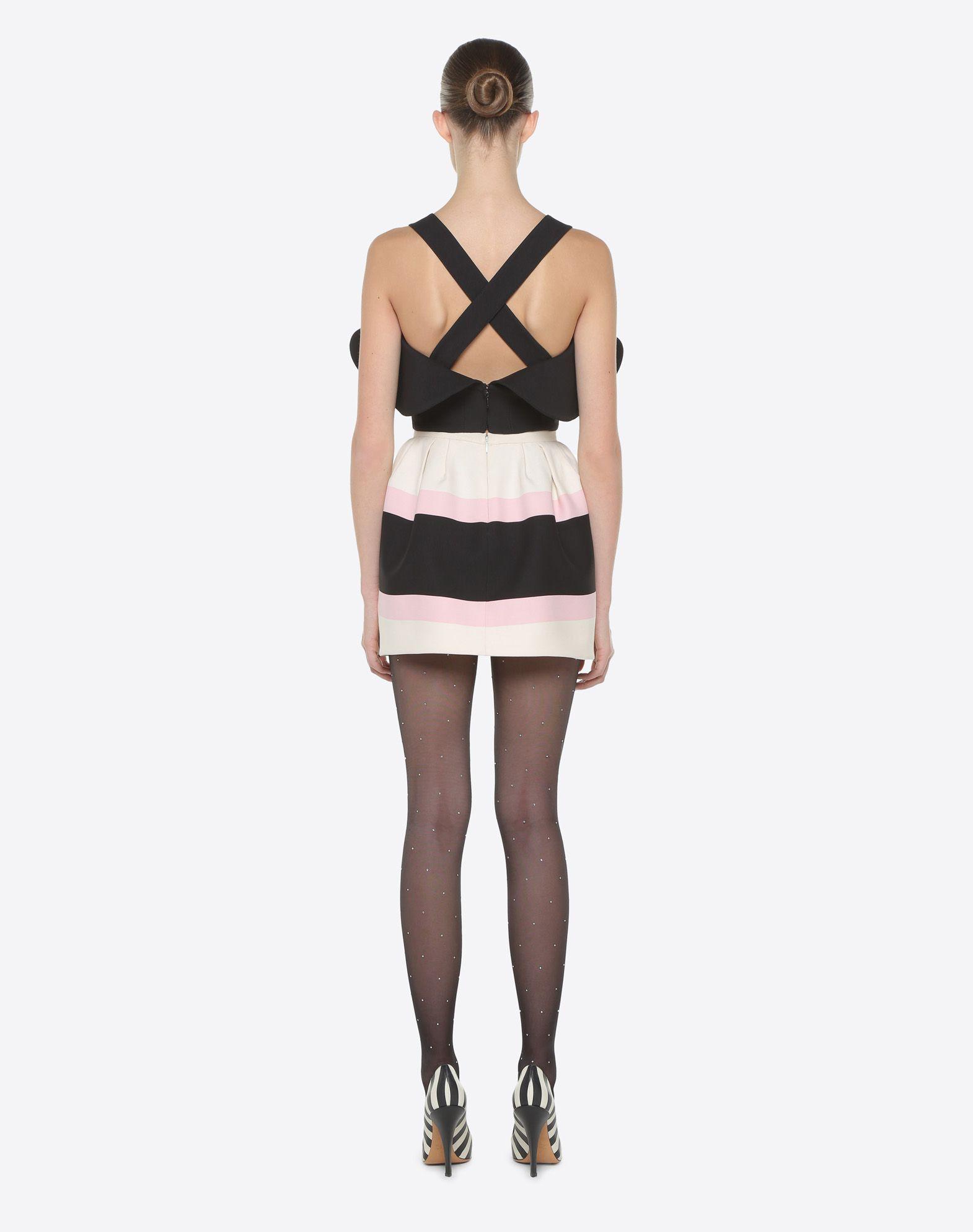 VALENTINO Macro Bayadère Mini Skirt Falda D e