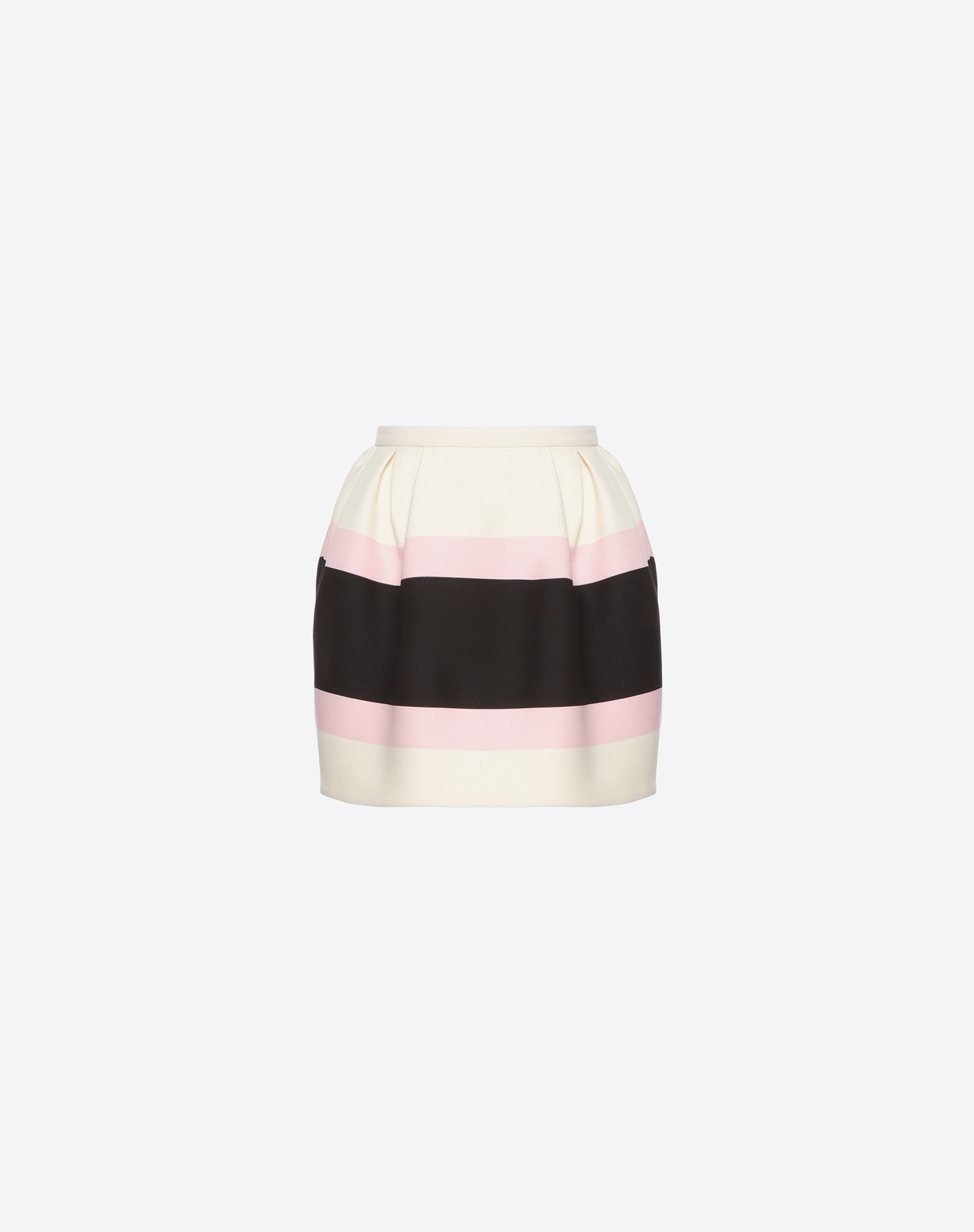 Striped Wool And Silk-Blend Crepe Mini Skirt in Cream