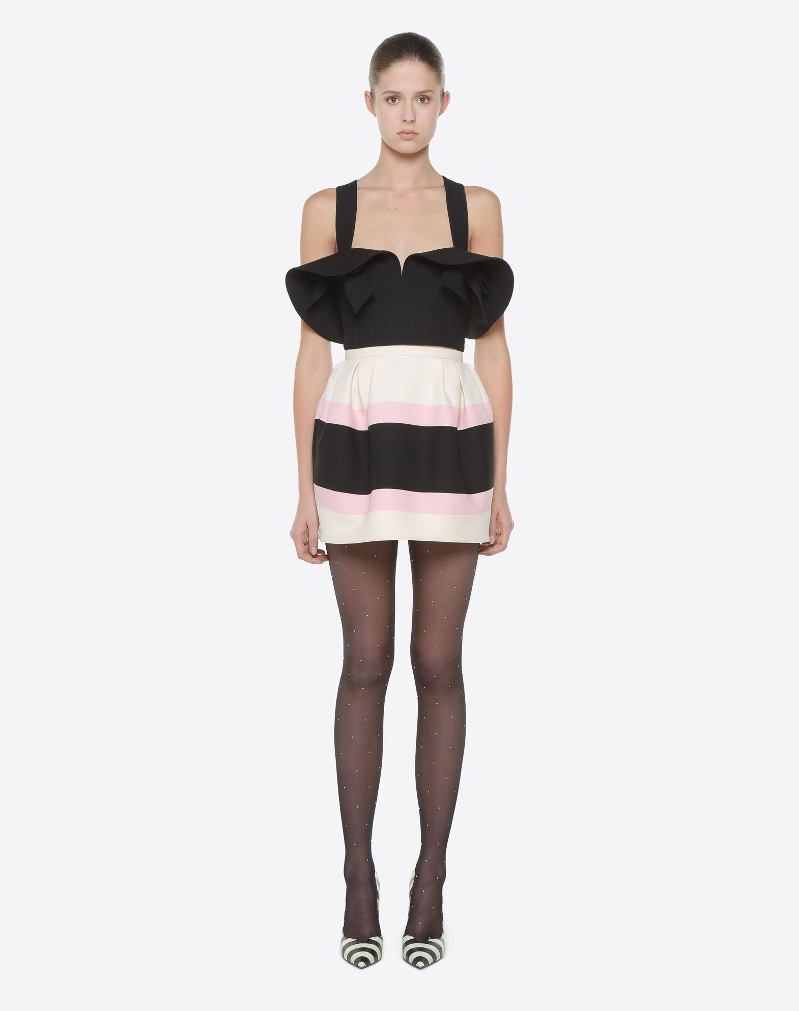 VALENTINO Macro Bayadère Mini Skirt Falda D r