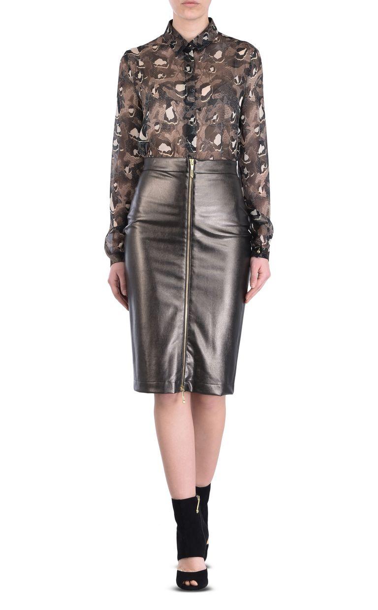 JUST CAVALLI Leather-look midi skirt Knee length skirt [*** pickupInStoreShipping_info ***] r