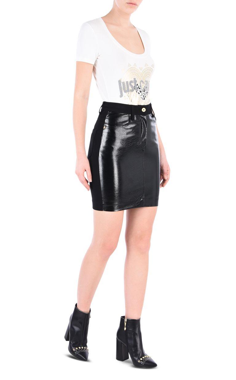 JUST CAVALLI High-shine denim-look mini skirt Mini skirt [*** pickupInStoreShipping_info ***] r