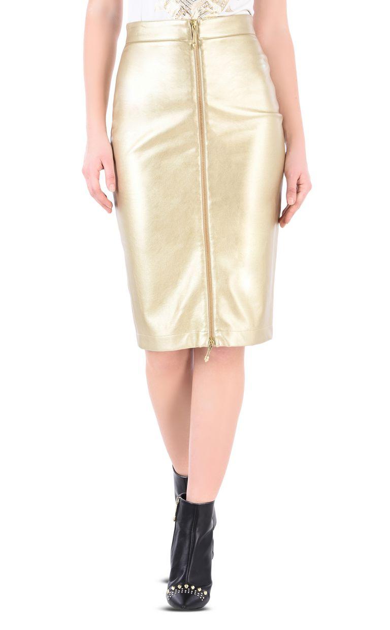 JUST CAVALLI Leather-look midi skirt Knee length skirt Woman f
