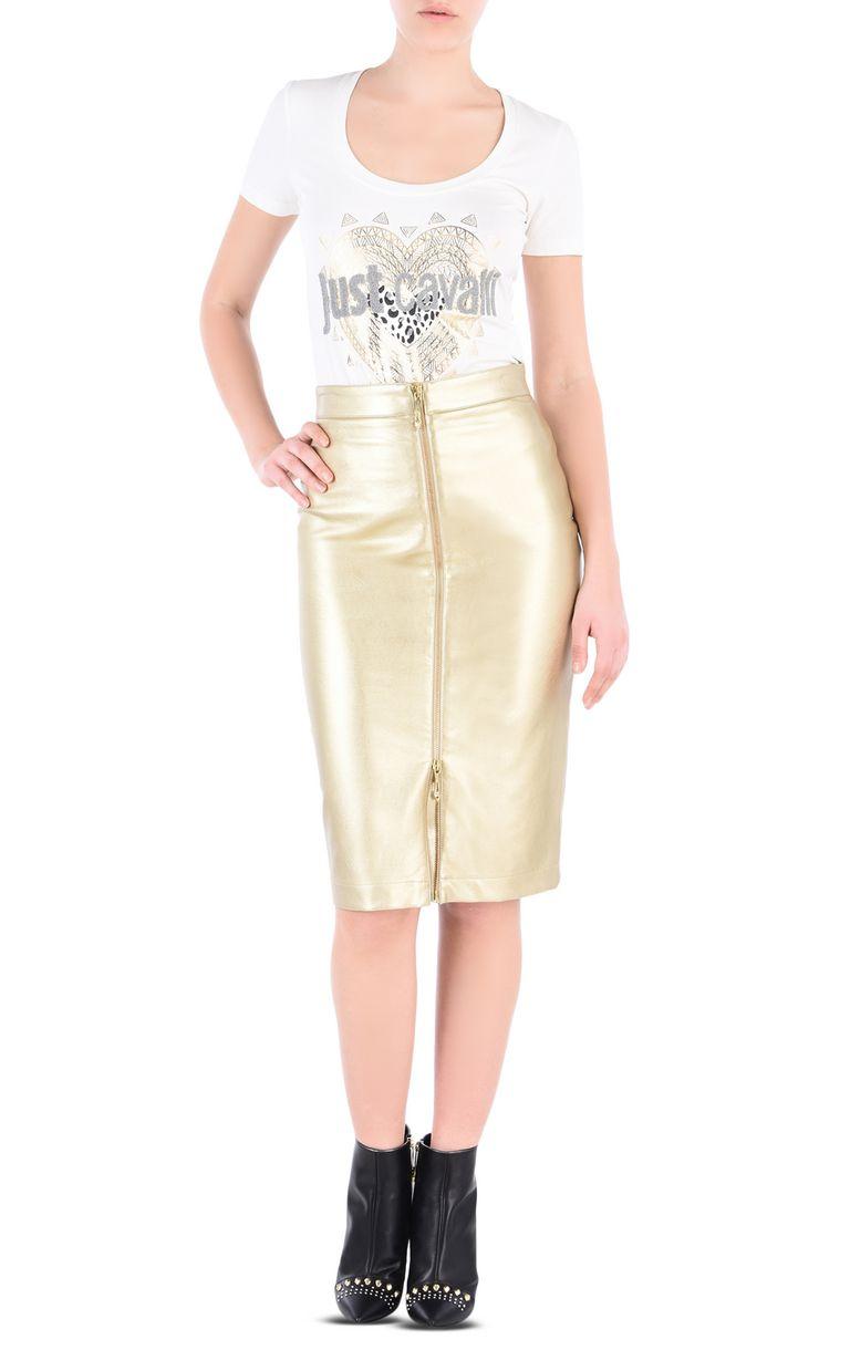 JUST CAVALLI Leather-look midi skirt Knee length skirt Woman r