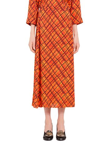 Marni Viscose straight skirt with tartan print Woman