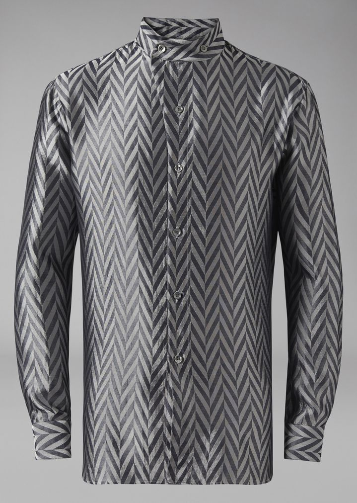 Camisa de tejido de jacquard con tintado del hilo en espiga   Hombre ...