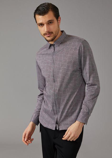 Chemise coupe slim en jersey mouliné à motif