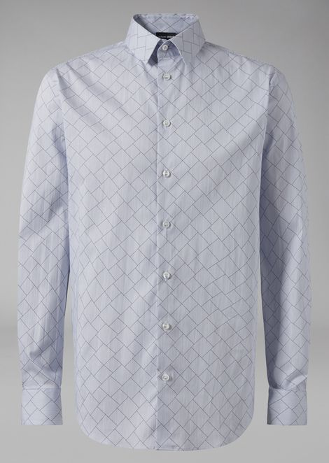 Slim fit shirt in exclusive yarn-dyed fabric