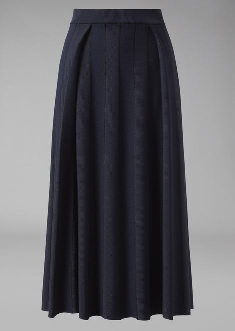 Mid-length skirt in ottoman with alternating glossy and matt threads
