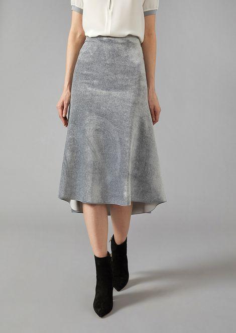 Mid-length flared skirt in velvet