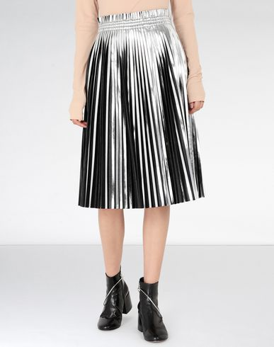 MM6 MAISON MARGIELA Silver pleated leather skirt 3/4 length skirt [*** pickupInStoreShipping_info ***] f