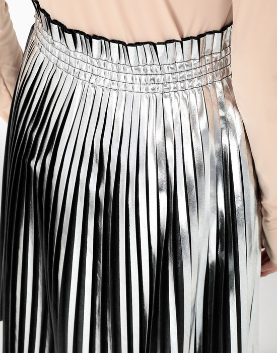 MM6 MAISON MARGIELA Silver pleated leather skirt 3/4 length skirt [*** pickupInStoreShipping_info ***] a