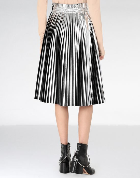 MM6 MAISON MARGIELA Silver pleated leather skirt 3/4 length skirt [*** pickupInStoreShipping_info ***] d
