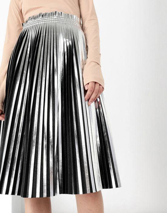 657351a418 Maison Margiela Silver Pleated Leather Skirt Women | Maison Margiela ...