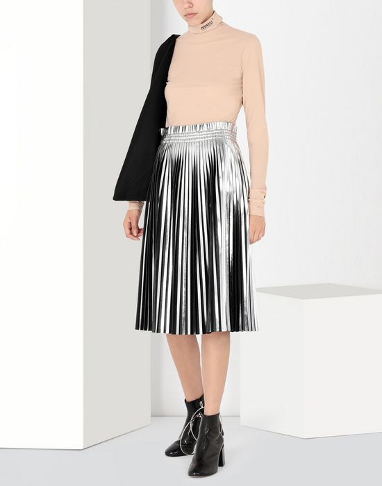 MM6 MAISON MARGIELA Silver pleated leather skirt 3/4 length skirt [*** pickupInStoreShipping_info ***] r