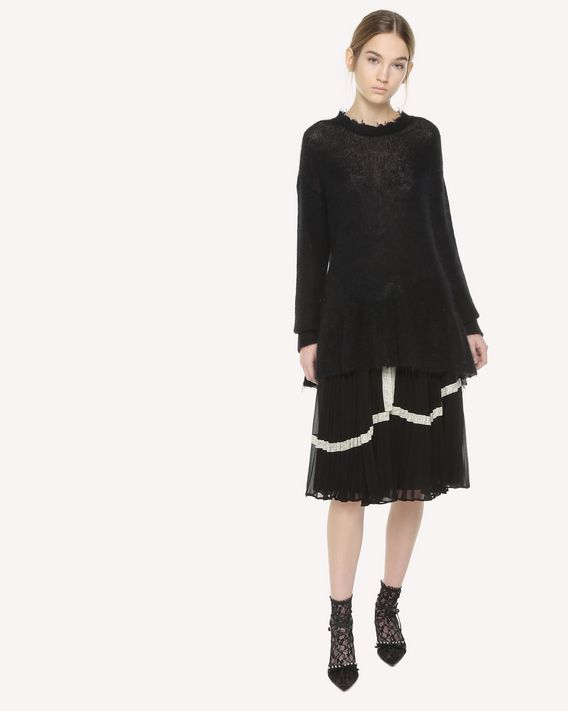 REDValentino Lace ribbons embroidered Georgette skirt