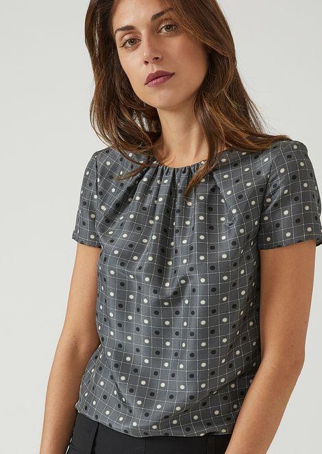 Bluse aus Habotai-Seide mit geometrischem Print