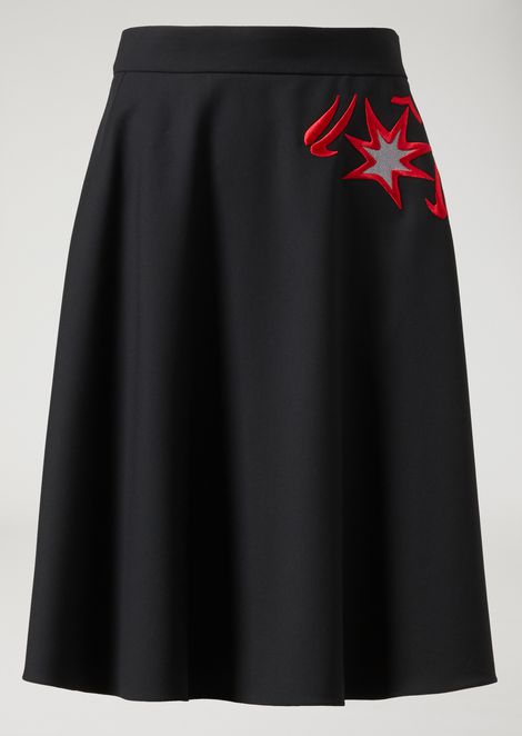 Double-faced satin full circle skirt with embroidered star detail