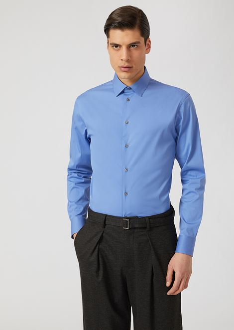 Stretch cotton shirt with classic collar