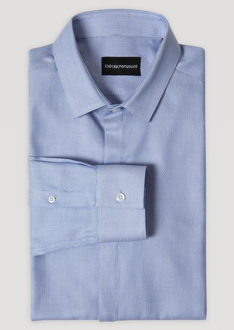 Woven pure cotton shirt with small collar