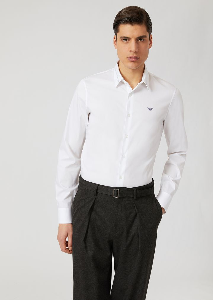 887a48b650 Comfortable poplin shirt with removable double use collar | Man ...