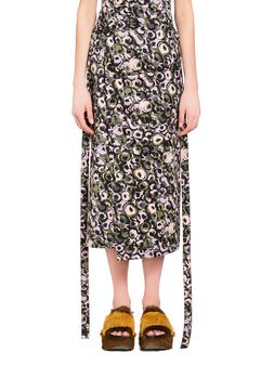 Marni Skirt in silky cotton with Marken print Woman