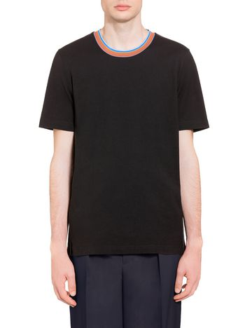 Marni T-shirt in compact jersey with multi-coloured neck Man