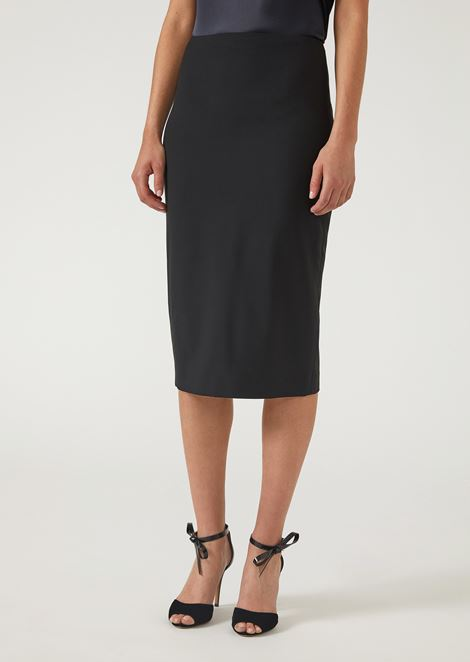 Pencil skirt in virgin wool with slit