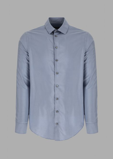 Regular-fit pure silk shirt with small-point collar