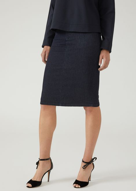 Pencil skirt in denim with rear slit