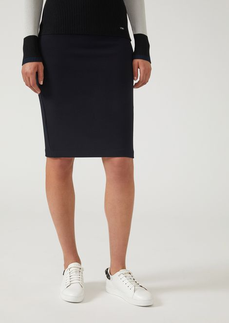 Jersey pencil skirt with ottoman effect
