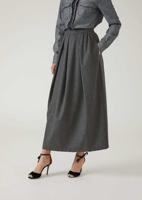Maxi skirt in flannel with light pleats
