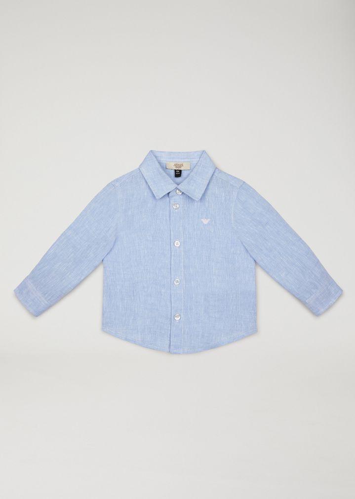 size 40 1976f 11c6f Camicia In Tela Di Lino | Bambino | Armani Junior