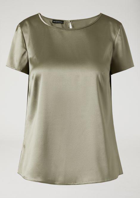 Boat neck blouse in silk satin