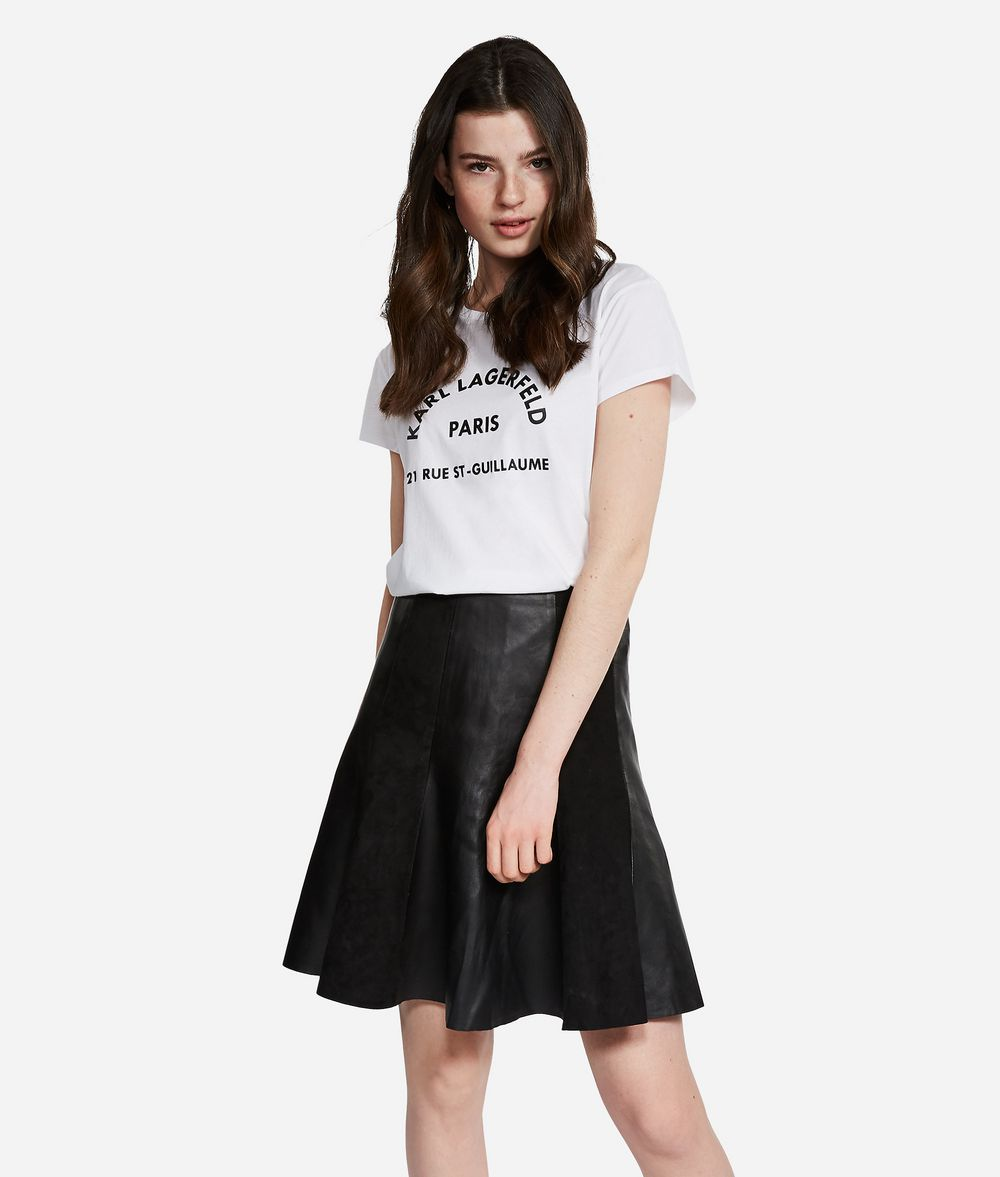 KARL LAGERFELD Leather and Suede Skirt Skirt Woman f