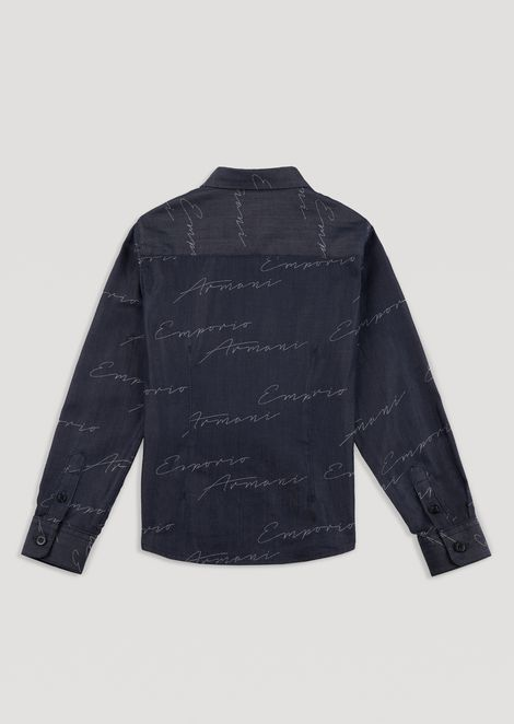 Cotton shirt with all-over jacquard logo