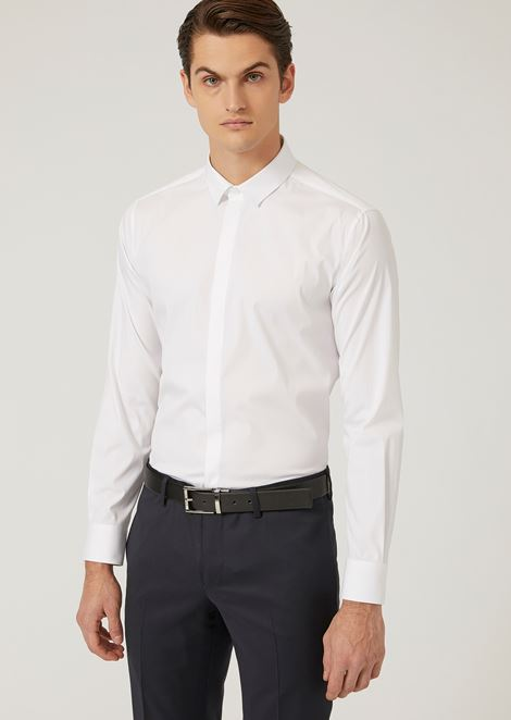 REGULAR FIT SHIRT IN STRETCH COTTON