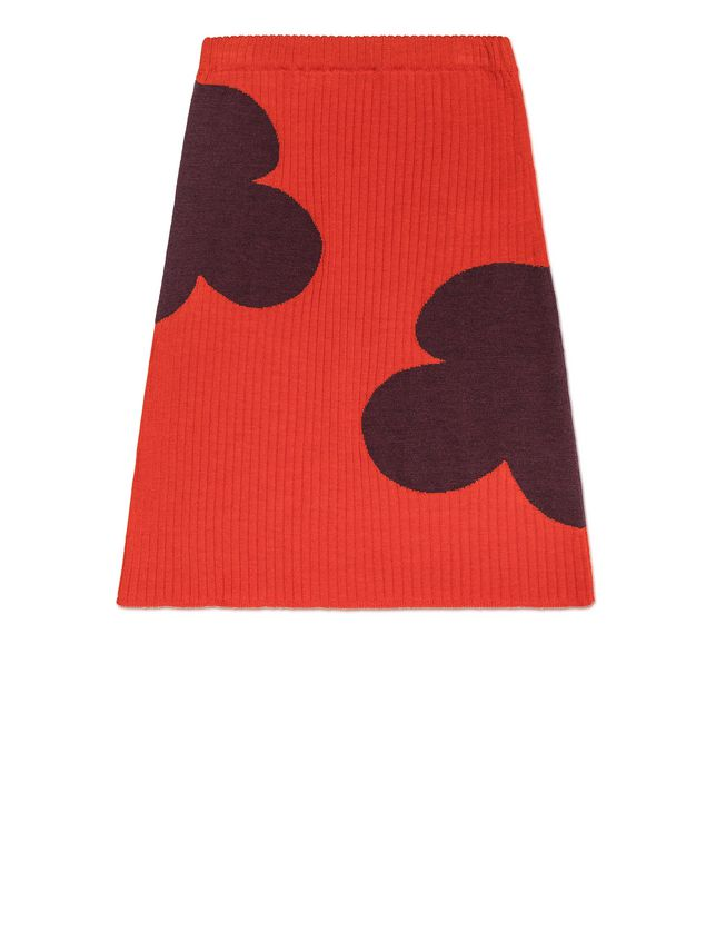 Marni RIBBED WOOL SKIRT WITH FLOWER DETAIL Woman