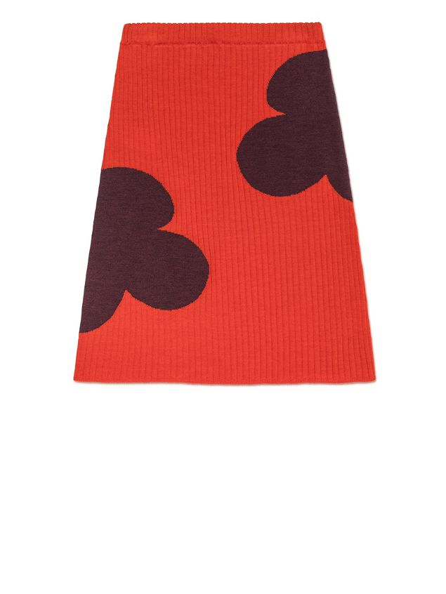 Marni RIBBED WOOL SKIRT WITH FLOWER DETAIL Woman - 1