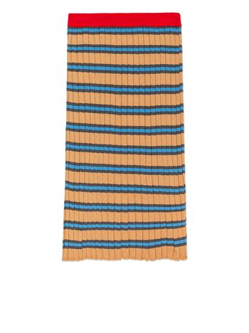 Marni STRIPED WOOL AND COTTON SKIRT  Woman