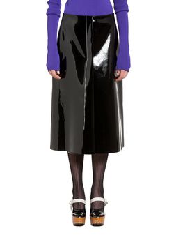 Marni Skirt in lightweight vinyl with hanging threads Woman